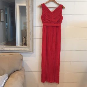 Chico's Black Label Red Holiday Pleated Maxi Sz 0
